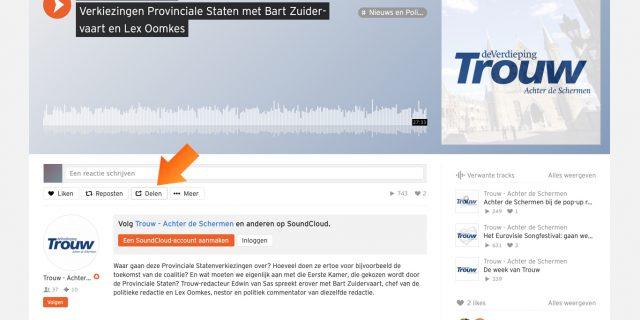 1. Zoek je audiofragment op in Soundcloud en open het menu 'Delen'.