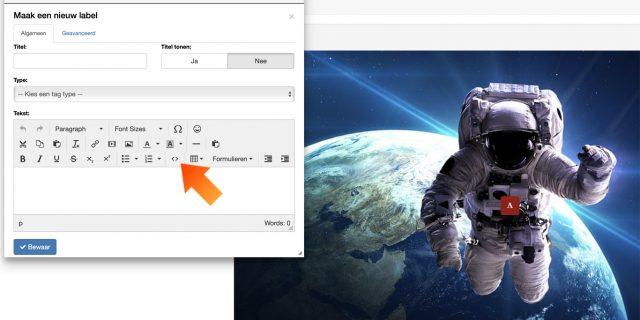 4. Open de optie '< >' binnen de Editor van Explorit en plak hier de gekopieerde code.