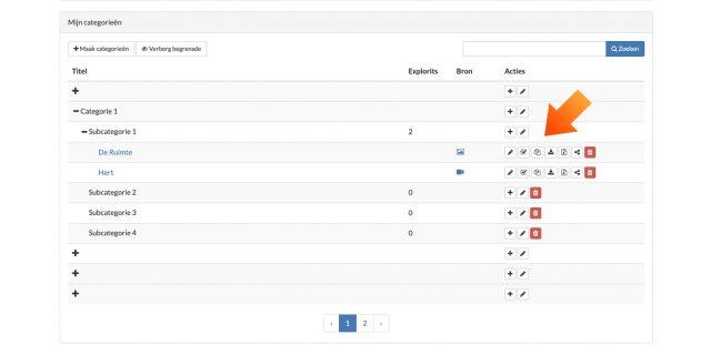 1. In het categorieën-scherm kun je Explorits beheren en vind je deze knoppen.