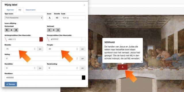 3. Bepaal de grootte van het klikgebied in het sub-menu 'Stijl', door de hoogte en de breedte van de hotspot te wijzigen.