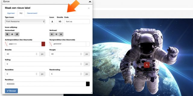 5. Plaatverdieping hotspot: bewerk op afdelingsniveau de label types via het Editor-menu of het vormgevings-icoon.